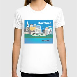 Hartford, Connecticut - Skyline Illustration by Loose Petals T-shirt