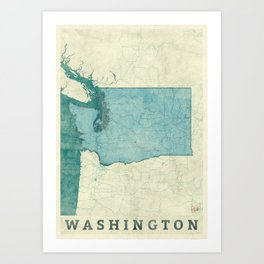 Washington State Map Blue Vintage Art Print