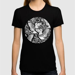 Stylish Swans in Monochrome Black and White T-shirt