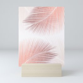 Palm leaf synchronicity - rose gold Mini Art Print