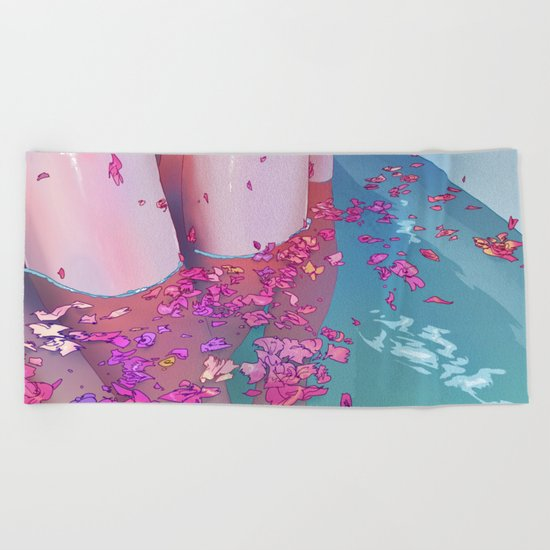 Flower Bath 4 Beach Towel