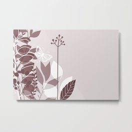 Pantone Red Pear Botanicals and Butterfly Graphic Design 2 Metal Print