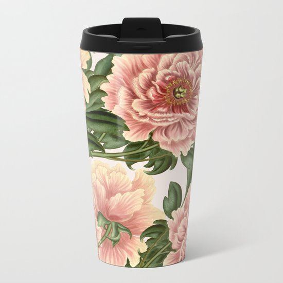 Peonies Metal Travel Mug