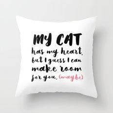 My Cat Has my heart - Pink Throw Pillow