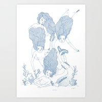 mermaids Art Prints featuring Mermaids by Veils and Mirrors