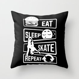 Eat Sleep Skate Repeat - Figure Skating Winter Ice Throw Pillow