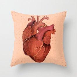 Anatomical Human Heart - Peach/Pink Version Throw Pillow