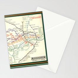 Vintage London Underground Map Stationery Cards