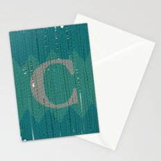 Winter clothes. Letter C. Stationery Cards