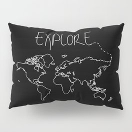 Explore World Map Pillow Sham