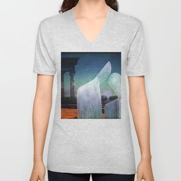And the sun disappears behind the temples Unisex V-Neck
