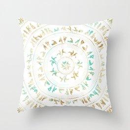 Kama Sutra Mandala Blue and Gold Throw Pillow