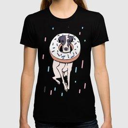 Iggy Dog Wearing a Dougnut - Italian Greyhound Dessert - White Donut with Sprinkles Whippet T-shirt