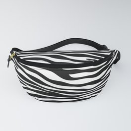 Animal Print, Zebra Stripes - Black White Fanny Pack
