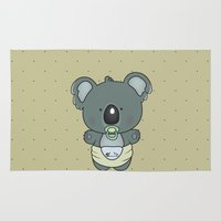 cartoons Area & Throw Rugs featuring Baby koala by mangulica