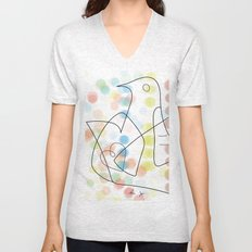 bird and heart color dots Unisex V-Neck