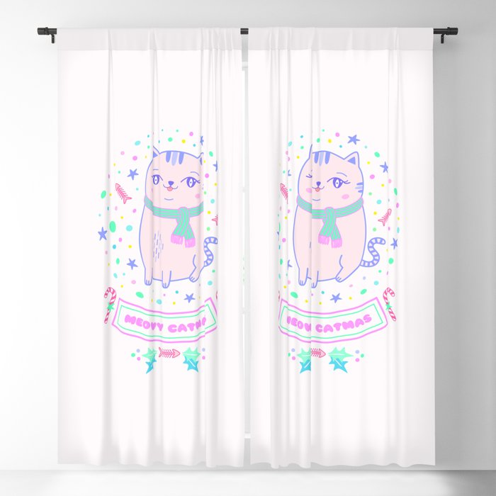 pink cat christmas gift idea girl meowy catmas Blackout Curtain