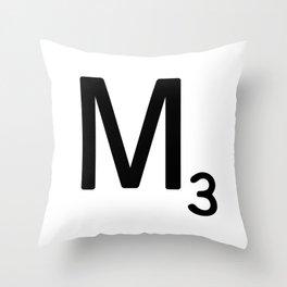 Letter M - Custom Scrabble Letter Tile Art - Scrabble M Initial Throw Pillow