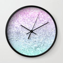 Mermaid Girls Glitter #1 (2019 Pastel Version) #shiny #decor #art #society6 Wall Clock