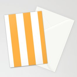 Wide Vertical Stripes - White and Pastel Orange Stationery Cards