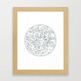 Constellations of the Northern sky - ligth blue Framed Art Print