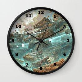 Aqua Space Shipyard Wall Clock