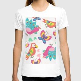 Exotic Birds & Butterflies Pattern T-shirt