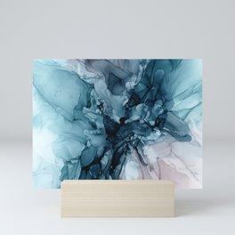 Blue Seas Mauve Sand Abstract Flow Painting  Mini Art Print