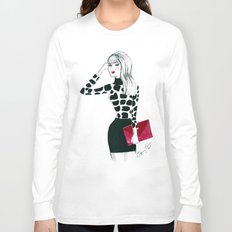 Giraffe Print Fashion Model Watercolor Long Sleeve T-shirt