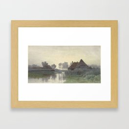 Boer Homes on the Water in morning mist, Paul Joseph Constantin Gabriel, 1838 - 1903 Framed Art Print