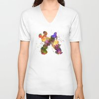 donald duck V-neck T-shirts featuring Mickey Mouse and Donald Duck in watercolor by Paulrommer