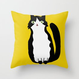Tuxedo Cat with tongue out Throw Pillow