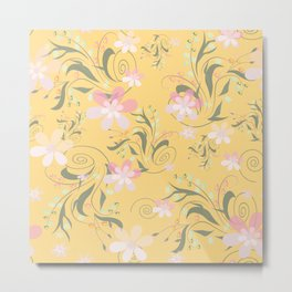 Pale pink flowers on yellow Metal Print