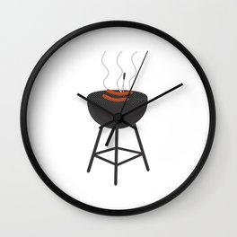 BBQ with sausages Wall Clock