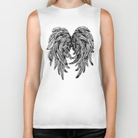 angel wings Biker Tanks featuring Pink Galaxy Angel Wings by Mad Love