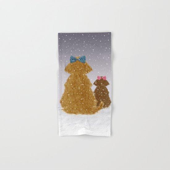 Cute Dogs Winter Scene Hand & Bath Towel