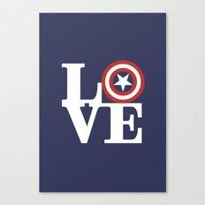LOVE, Cap. America Hero Canvas Print