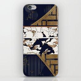Navy and Gold Herringbone Peony Obi Print iPhone Skin