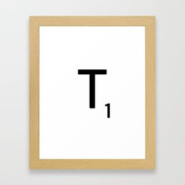 Letter T - Custom Scrabble Letter Tile Art - Scrabble T Initial Framed Art Print