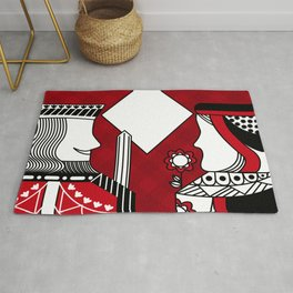 Casino poker queen and king diamond card game  Rug