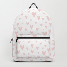 Blush pink white handdrawn watercolor romantic hearts pattern Backpack