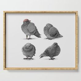 Four Pigeons Serving Tray