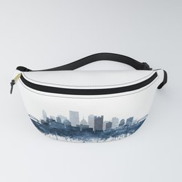 Pittsburgh City Skyline Watercolor Blue by Zouzounio Art Fanny Pack