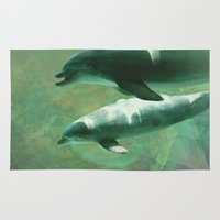 dolphins Area & Throw Rugs featuring Two Dolphins by Roger Wedegis