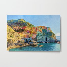 Cinque Terre, Italy | Painting Metal Print
