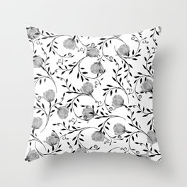 Black white watercolor botanical roses floral Throw Pillow