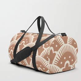 Fan Pattern Brown Beige Duffle Bag