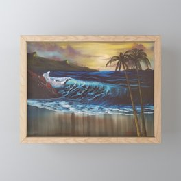 Beach, Tropical Sunset, Waves, by Faye Framed Mini Art Print