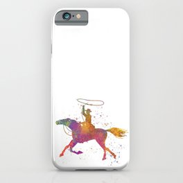 American rodeo cowboy with lasso in watercolor iPhone Case