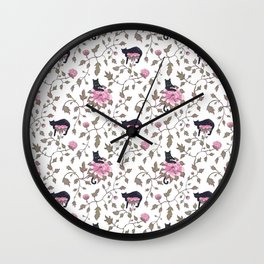 Black cats and paeony flowers Wall Clock